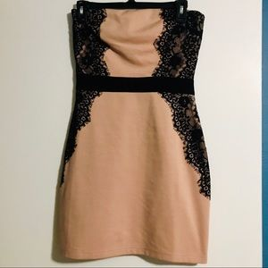 Blush Pink with Black Lace Strapless Mini Dress